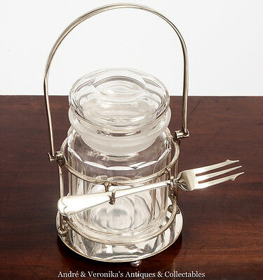 Antique PICKLE JAR CONDIMENT Set Birmingham Handicrafts Ltd. Olive Silver Plated
