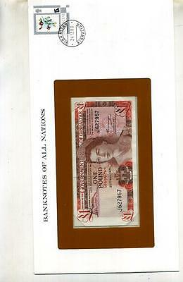 Gibraltar 1975 1 Pound Cover + Currency Note Cu