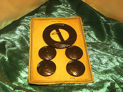 Bakelite Buttons and Buckle set on Original Card | Vintage New Old Stock