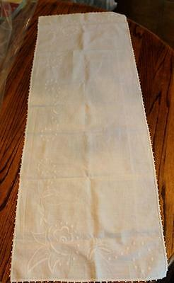 Antique Embroidered Table Runner White 37.5 inches x 13.5 Floral Pattern