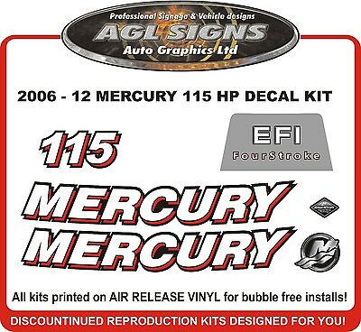 2006 - 2012  MERCURY 115 EFI  Fourstroke Decal Kit   90 125 hp  also avail.