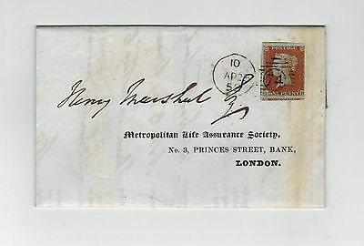 GB QV 1853 IMPERF 1d RED STAMP ON WRAPPER WITH CHIEF OFFICE LINE CANCEL