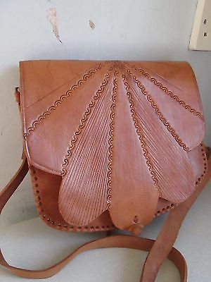 Tan real leather tooled flap shoulder/cross body bag