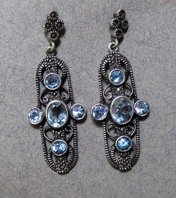 Vintage Marcasite Dangling Sterling Silver Natural Aquamarine  Stone Earrings