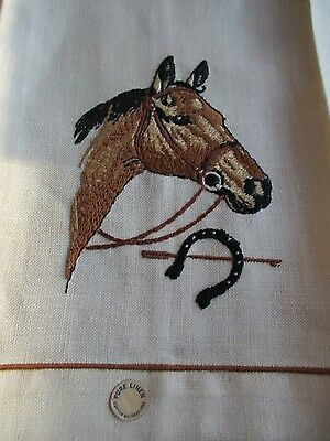 New w Label Ivory Linen Hand Guest Towel Embroidered Horse head & Horseshoe