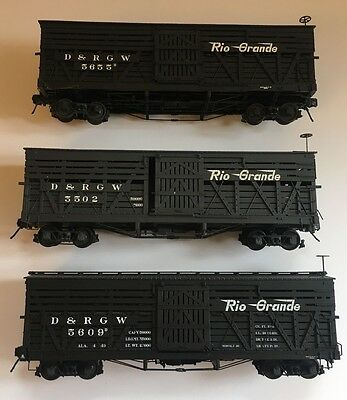 3 x ON3 Scale San Juan Car Co kit built D&RGW Stock Cars- LOT 1