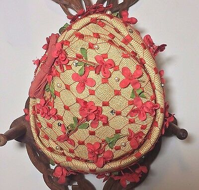 Vtg Straw Pillbox Hat Red Millinery Flowers Faux Pearls Gaby's Exclusive Shoppe