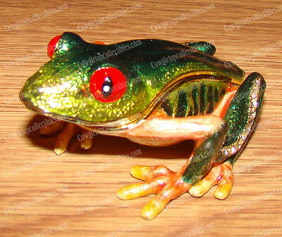 Red Eyes Tree FROG, 4159 Bejeweled Baked Enamel Trinket (Treasure) Box