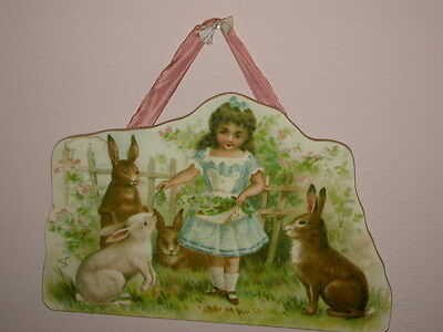 Rabbits Bunny Wall Hanging Placard -  Marta E. Peters Moonlight & Roses