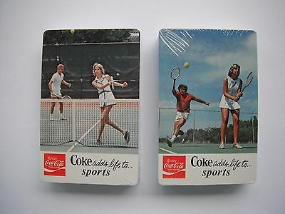 """1975 Coca Cola """"adds life to sports"""" Double Sealed Playing Card Decks Mint"""