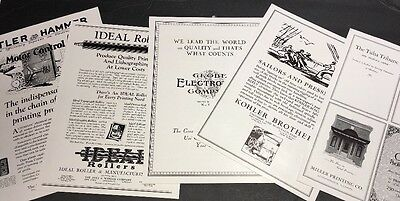 Lot Of 5 Different Printing  & Press Equipment Ad C 1925 Rollers Etc