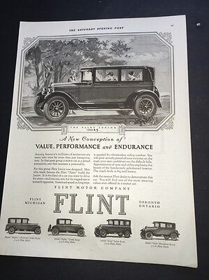 1926 Flint  Auto Car Ad Original Vintage Michigan Several Models Flapper Girls