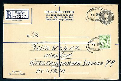 1964  Registered Postal Stationery Cover to Austria  (7d Wilding)  (Jy115)