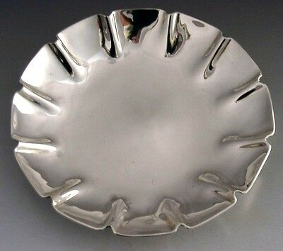 QUALITY SCOTTISH MODERNIST STERLING SILVER FLOWER DISH / BOWL 1991 HEAVY 132g