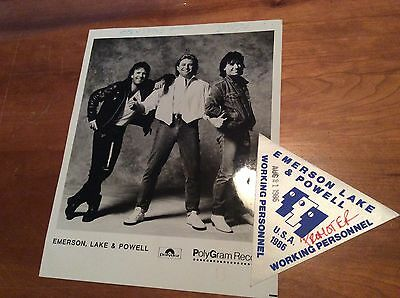 EMERSON, LAKE AND POWELL: Vintage Backstage Pass and Promo Photo 1986!