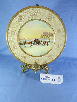 Royal Worcester Cabinet Plate Signed - J. Stanley Called Meeting The Mail