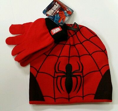 Spiderman Ultimate Marvel Beanie Hat & Gloves Set Red/Black Boys Size Ages 4-14