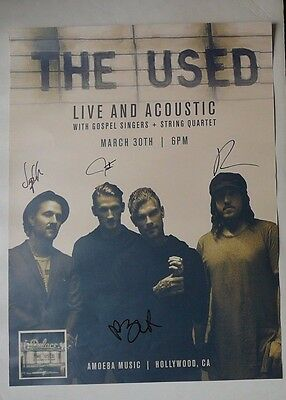 THE USED AUTOGRAPHED PROMO SHOW  POSTER  HOLLYWOOD MARCH 30th