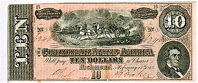 1864 $10 Confederate States Of America T-68  - Nice!