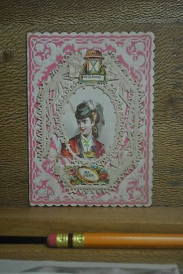 Victorian Lacy Valentine, Beauty In Hat, Hour Glass, Opens To Friendship Verse