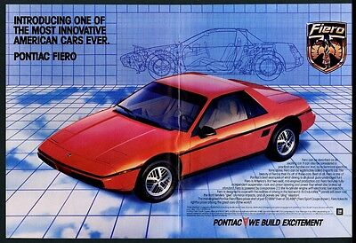 1984 Pontiac Fiero red car color photo vintage print ad
