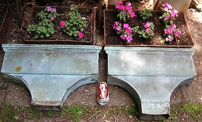 2 Antique Usa Victorian Building Salvage Copper Down Spout Water Garden Planter