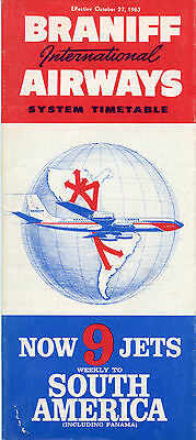 Braniff International Airways Oct. 27, 1963 System Timetable - airlines