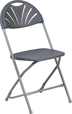 Lot Of 20 Hercules Series 650 Lb Cap. Charcoal Plastic Fan Back Folding Chair