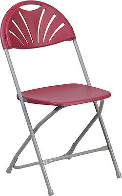 Lot Of 20 Hercules Series 650 Lb Cap. Burgundy Plastic Fan Back Folding Chair