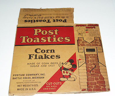 1930's Post Toasties Cereal Box w/ Mickey Mouse and cutouts Disney