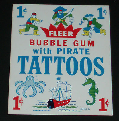 1960's Fleer Bubble Gum Pirate Tattoos Vending Machine insert card