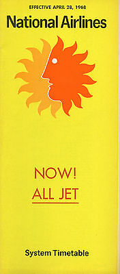 National Airlines April 28, 1968 System Timetable, all jet, Electras are gone
