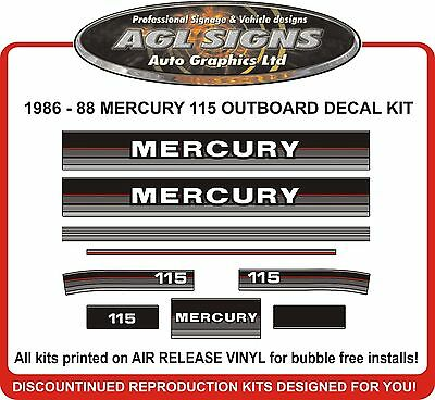 1986 1987 1988 MERCURY 115 hp Outboard Decals reproductions