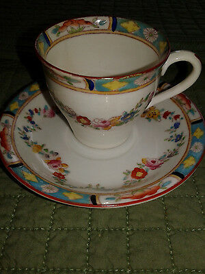 Antique Hand Painted Crown Sutherland Rose Swags  # 663 Demitasse Cup & Saucer