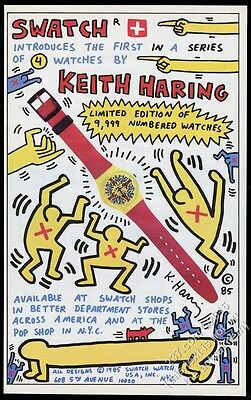 1985 Keith Haring Swatch Watch 1st model great color art BIG vintage print ad