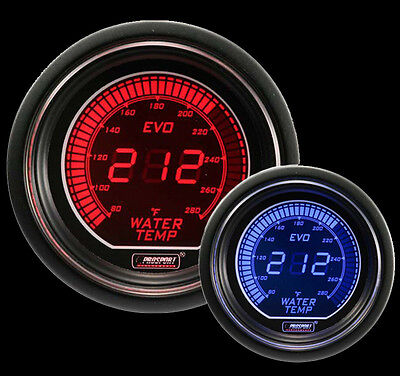 """Evo Series Water Temperature Gauge-Electric 52mm 2 1/16"""" Red and Blue"""