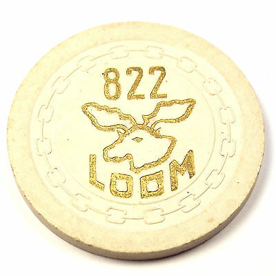 Vintage LOOM Moose Lodge #822 5c Casino Chip Card Room Minot ND North Dakota