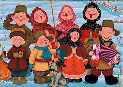 EIGHT MEN AND WOMEN + DOG perform song with harmonica music Modern Russian card