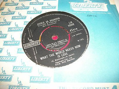"""JACKIE DeSHANNON- WHATS THE WORLD NEEDS NOW IS LOVE VINYL 7"""" 45RPM co"""