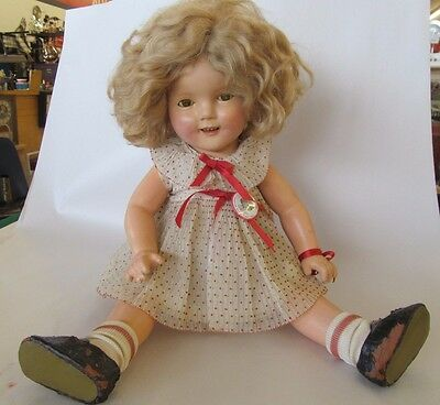 """Antique 19"""" Ideal Shirley Temple Doll With Original Polka Dot dress & shoes"""