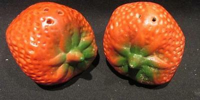Strawberry Shaped Large Pair Ceramic Salt & Pepper Shakers with Stoppers