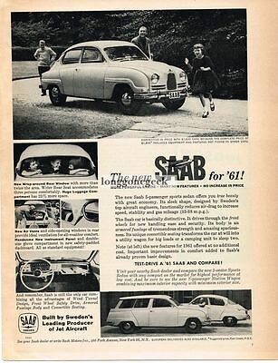 1961 Saab 96 New For '61 Automobile Car Vtg Print Ad