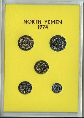 GN650 - Jemen Kursmünzensatz 1974 PROOF PP KMS KM#PS5 Yemen Coin Mint Set BOX