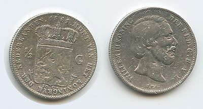 G0881 - Niederlande ½ Gulden 1861 KM#92 Silber RAR William III. Netherlands