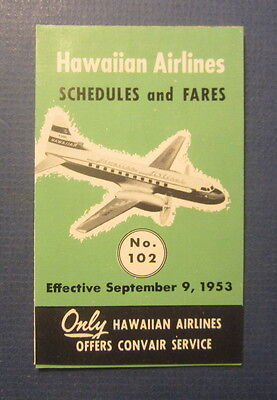 Old 1953 Hawaiian Airlines - Schedules / Fares POCKET Brochure - Timetable