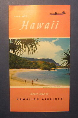 Old 1953 - Hawaiian Airlines -  ROUTE MAP / Travel Brochure - See All HAWAII