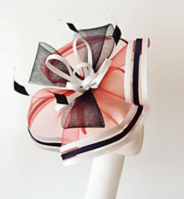 Ladies White/Black/Red Flax Races Wedding Event Fascinator Hat