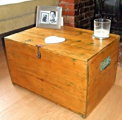 VINTAGE PINE CHEST Old Waxed Pine Tool Chest / Box COFFEE TABLE STORAGE