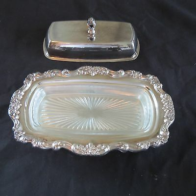 Vintage Decorative Silverplate Covered Butter Dish With Glass Insert