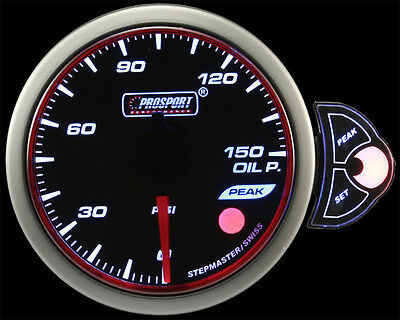 """Halo OIL PRESSURE Gauge Amber/White/Blue 52mm (2 1/16"""") With Peak/Warn dimmable"""
